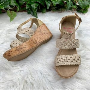 Jellypop Birch Cork Wedge Woven Sandals Like New